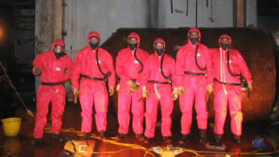 Asbestos removal team