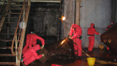 Team working on asbestos removal
